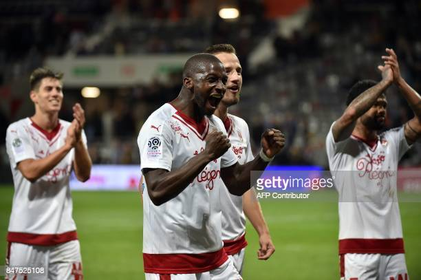 Bordeaux's Younousse Sankhare jubilates after winning the French L1 football match Toulouse vs Bordeaux on September 15 2017 at the Municipal Stadium...