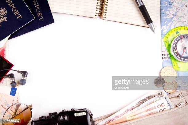 Border Background with Travel Themes and passports