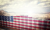 border barrier concept with usa flag 3d rendering image