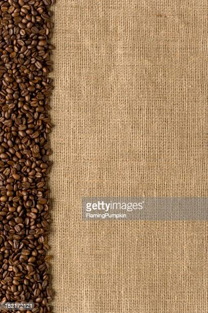 Border - Coffee Beans on Burlap Bag. Full Frame. Vertical
