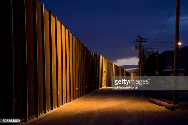 U.S. Border Fence at Night