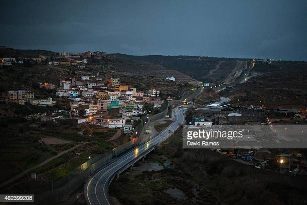 A border fence limits Morocco from the Spanish enclave of Melilla on January 22 2015 in Melilla Spain According to Spanish Police approximately 2400...