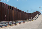 Border fence in Nogales Arizona separating the United States from Nogales Sonora Mexico