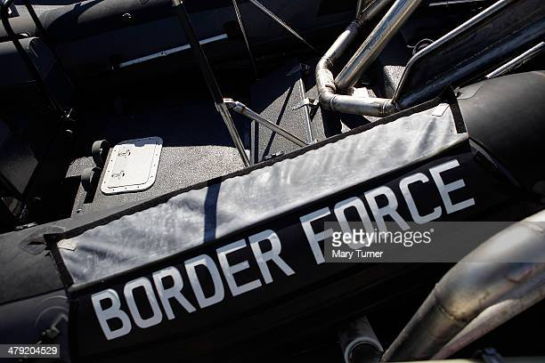 Border Force logo imprinted on the RIB which is carried on board the new Border Force cutter HMC Protector on March 16 2014 in London England The...