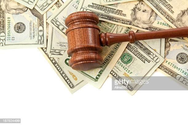 Border: gavel laying on top of money isolated