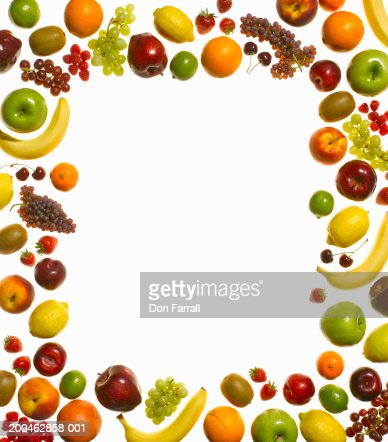 Border of assorted fruits : Stock Photo