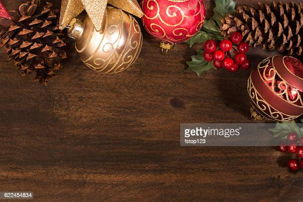 Border of Christmas decorations with copyspace.