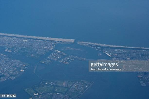Border of Hamana Lake and Pacific Ocean in Shizuoka prefecture daytime aerial view from airplane
