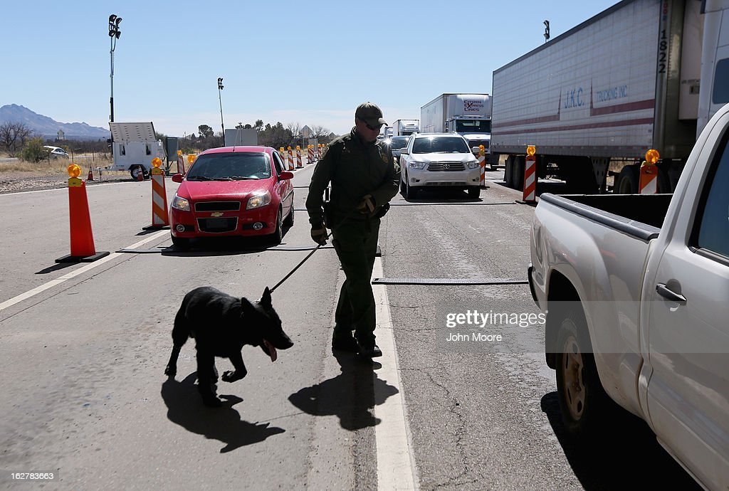S. Border Patrol agent and drug sniffing German Shepherd Jack-D prepare to search vehicles for drugs at a checkpoint near the U.S. Mexico border on February 26, 2013 north of Nogales, Arizona. Border Patrol agents use canines to detect illegal drugs crossing north from Mexico.