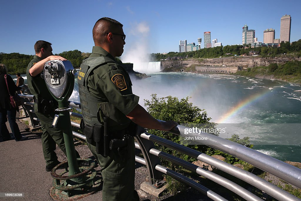 U.S. Border Patrol agents patrol near Niagara Falls on June 4, 2013 in Niagara Falls, New York. The major tourist attraction, which falls directly on the U.S.-Canada border, is a major destination for international visitors. Border Patrol agents detain travelers who have overstayed their visas as well as undocumented immigrants who attempt to illegally cross the international bridge in Niagara Falls.
