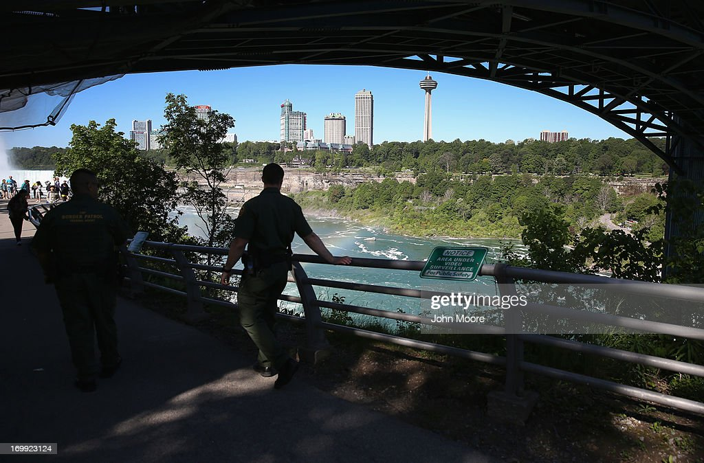 U.S. Border Patrol agents patrol near Niagara Falls on June 4, 2013 in Niagara Falls, New York. The major tourist attraction, which falls directly on the U.S.-Canada border, is a major destination for international visitors. Border Patrol agents detain travelers who have overstayed their visas as well as undocumented immigrants who attempt to cross the international bridge in Niagara Falls.
