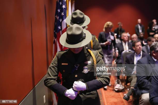 S Border Patrol honor guard attends a ceremony for fallen agents at the Border Security Expo on April 12 2017 at the Henry B Gonzalez Convention...