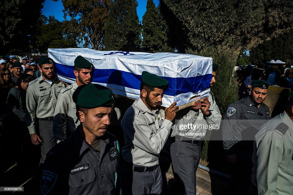 Border Police members seen carry the coffin of Hadar Cohen during her funeral on February 4, 2016 in Ehud, Israel. Hadar Cohen was killed yesterday by 3 Palestinians as they carried out an attack at Damascus gate in Old City of Jerusalem.