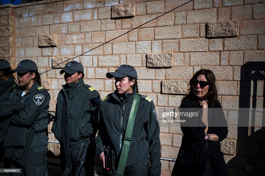 Border Police members seen during the funeral of Hadar Cohen on February 4, 2016 in Ehud, Israel. Hadar Cohen was killed yesterday by 3 Palestinians as they carried out an attack at Damascus gate in Old City of Jerusalem.