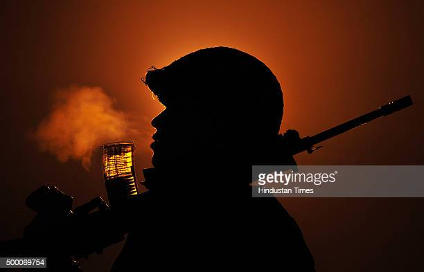Border Security Force personnel patrolling in a foggy winter night at International border on December 5 2015 at Octroi post about 25 km from Jammu...
