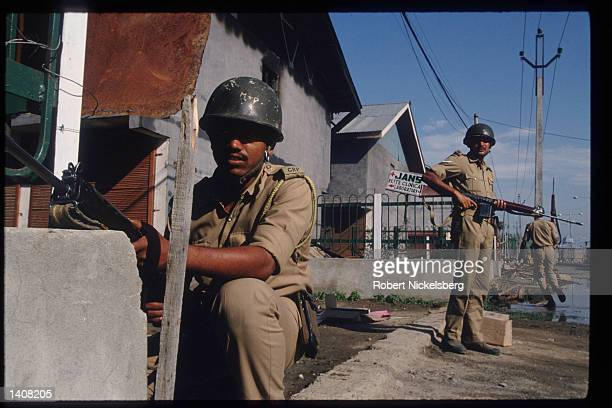 Border Security Forces patrol Srinagar July 28 1993 in Jammu and Kashmir India Kashmir has been partitioned between India and Pakistan since 1947...