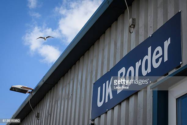 Border sign is seen at Brighton City airport on October 10 2016 in Shoreham England Luxembourg's prime minister Xavier Bettel has proposed that the...