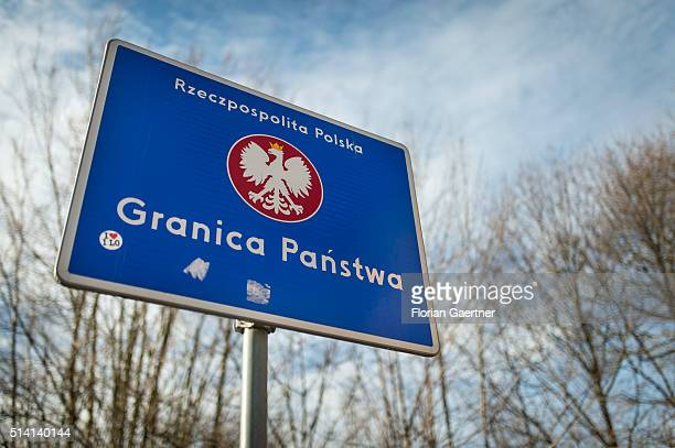 A border sign of Poland stands near the germanpolish border on February 08 2016 in Goerlitz Germany