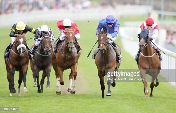 Borderlescott ridden by Pat Cosgrave wins The toteswinger City Wall Stakes from Captain Gerrard ridden by Tom Eaves during totesport Day at Chester...