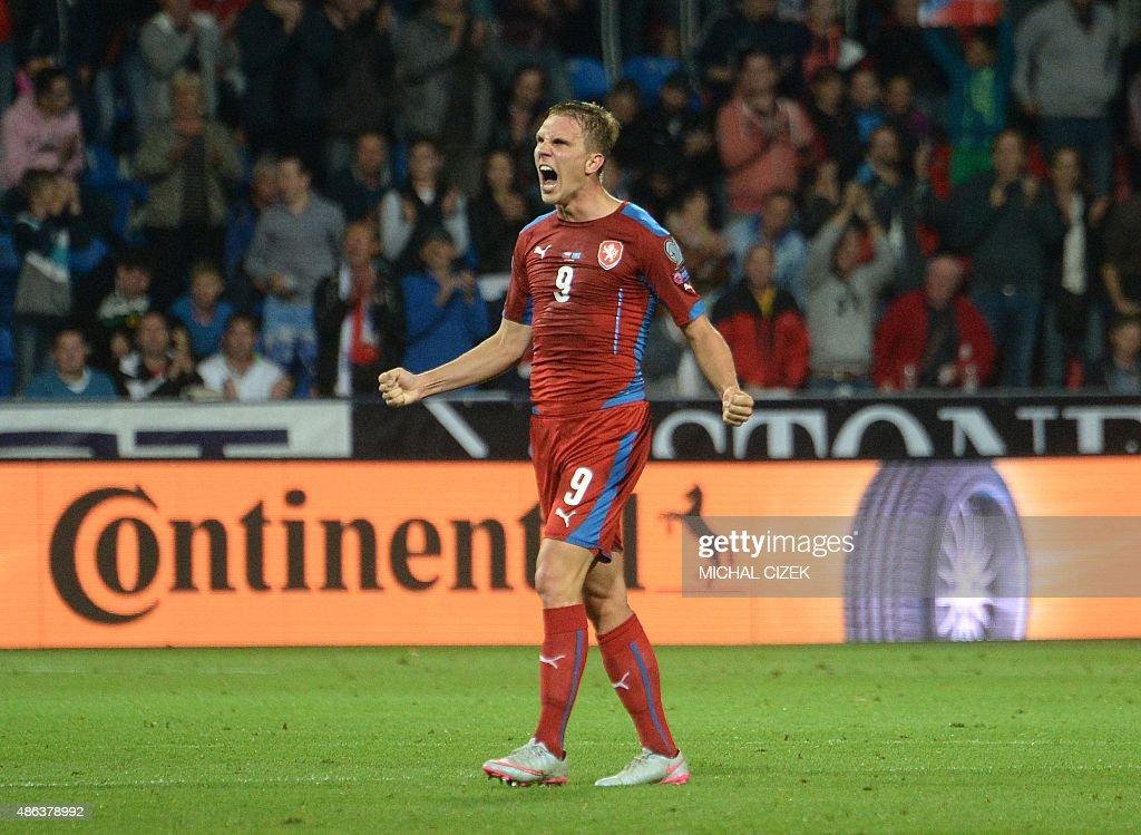 Borek Dockal of Czech Republic celebrates after the UEFA Euro 2016 qualifying round football match Kazakhztan vs Czech Republic on September 3 2015...