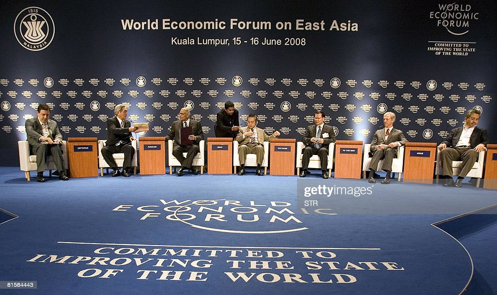 Borge Brende, Managing Director of World Economic Forum, Japan's Takao Kusakari, Chairman of Nippon Yusen Kabushi Kaisha, India's Member of Parliament, Yashwant Sinha, Japan's Minister of Financial Services Yoshimi Watanabe, Vietnam Finance Minister Vu Van Ninh , Marcus Agius, Chairman of Barclays of United Kingdom and Azman Mokhtar, Managing Director of Khazanah Nasional of Malaysia attend the World Economic Forum on East Asia in Kuala Lumpur on June 15, 2008. The 17th World Economic Forum on East Asia returned to Malaysia, where leaders from over 20 countries are to convene to debate the challenges and priorities that will ultimately shape the region?s future agenda.