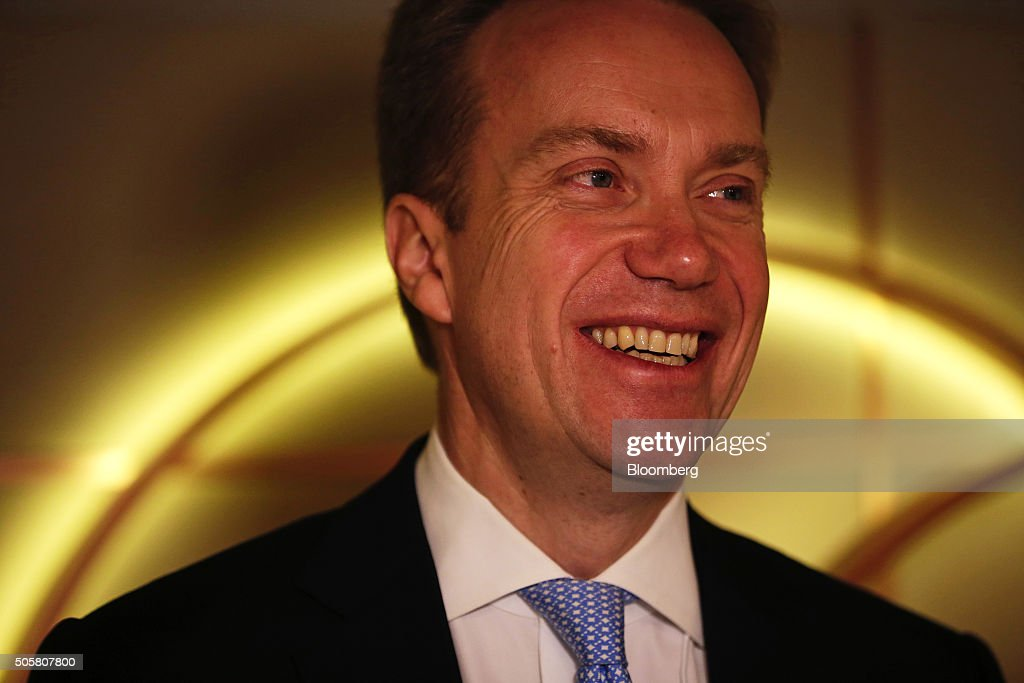Borge Brende, Noway's foreign minister, reacts between sessions during the World Economic Forum (WEF) in Davos, Switzerland, on Wednesday, Jan. 20, 2016. World leaders, influential executives, bankers and policy makers attend the 46th annual meeting of the World Economic Forum in Davos from Jan. 20 - 23. Photographer: Matthew Lloyd/Bloomberg via Getty Images