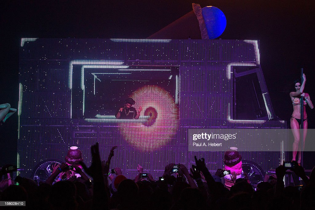 DJ Borgore performs on stage during Borgore's 'Christmas Creampies' concert at the Fonda Theatre on December 8, 2012 in Hollywood, California.