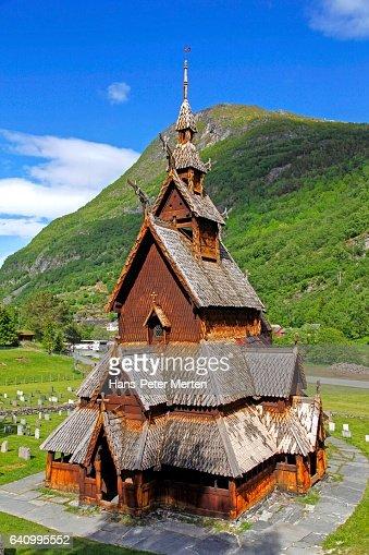 Borgund Stave Church in Laerdal on Sogne Fjord, Province of Sogn og Fjordane, Norway