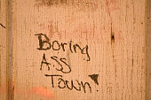 Boring Ass Town Graffiti on the Shishmaref airstrip building Alaska Graffiti written by a visitor to this Inuit island community who failed to grasp...
