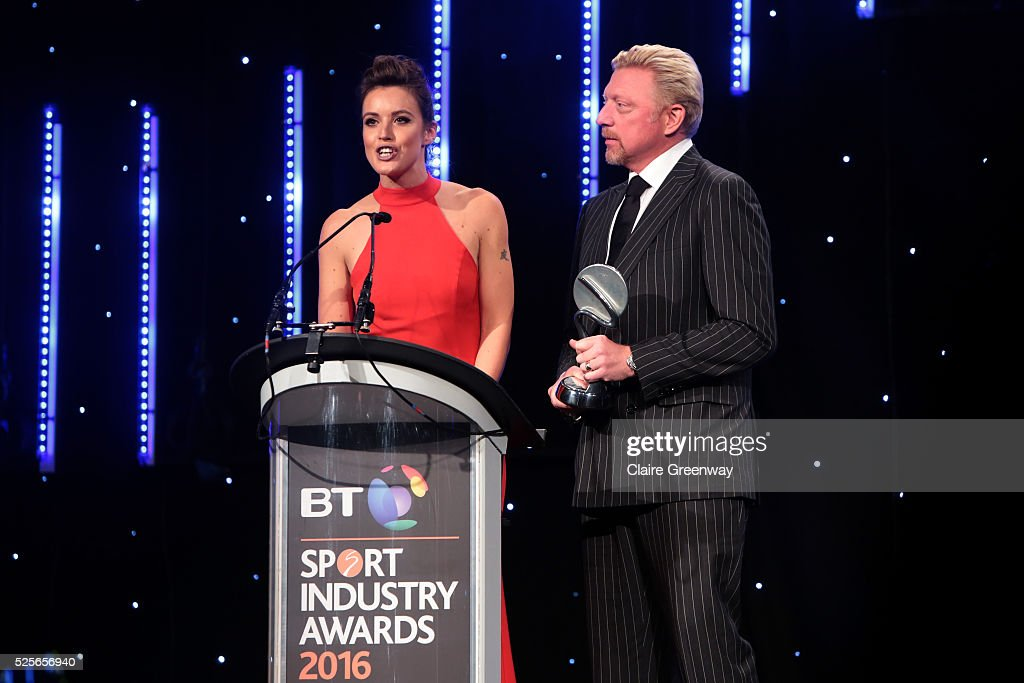 Boris Becker and Charlie Webster present the Best Sponsorship of a team or individual to O2 England Rugby Wear the Rose at the BT Sport Industry Awards 2016 at Battersea Evolution on April 28, 2016 in London, England. The BT Sport Industry Awards is the most prestigious commercial sports awards ceremony in Europe, where over 1750 of the industry's key decision-makers mix with high profile sporting celebrities for the most important networking occasion in the sport business calendar.
