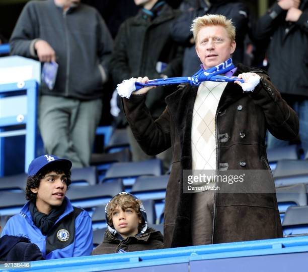 Boris Becker and his children Noah Gabriel and Elias look on during the Barclays Premier League match between Chelsea and Manchester City at Stamford...