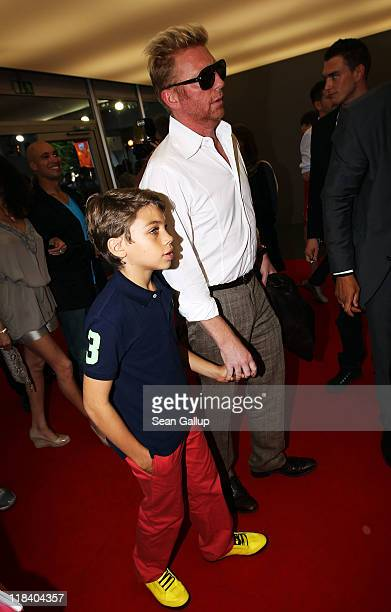 Boris Becker and his son Elias Balthasar arrive at the Perret Schaad Show during MercedesBenz Fashion Week Berlin Spring/Summer 2012 at the...