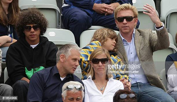 Boris Becker and his sons Elias and Noa Gabriel are seen during the MercedesCup at TC Weissenhof on July 8 2008 in Stuttgart Germany