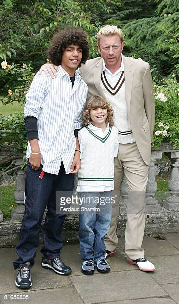 Boris Becker and his sons Noah and Elias attend The Ralph Lauren Wimbledon Garden Party at Froebel House on June 21 2008 in London England