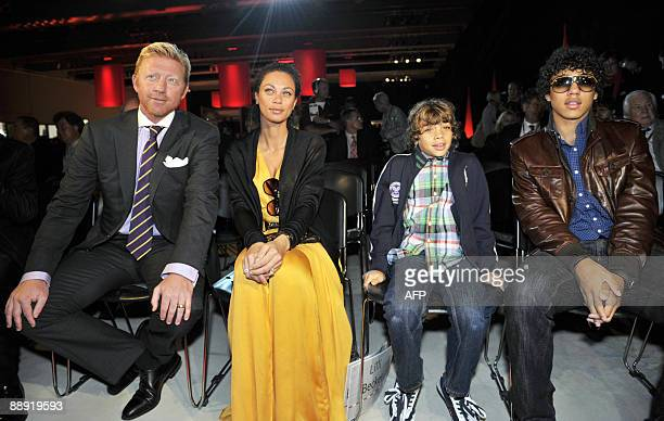 Boris Becker and his wife Lilly attend the opening ceremony of the Formula One Grand Prix with Beckers' sons Elias and Noah at the Nuerburgring in...