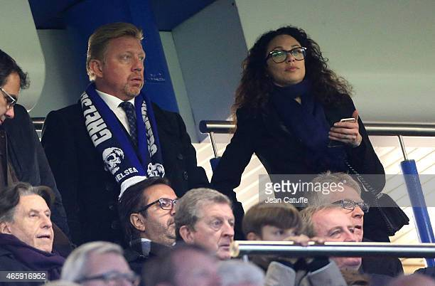 Boris Becker and his wife Lilly Becker attend the UEFA Champions League match between Chelsea FC and Paris SaintGermain FC at Stamford Bridge stadium...