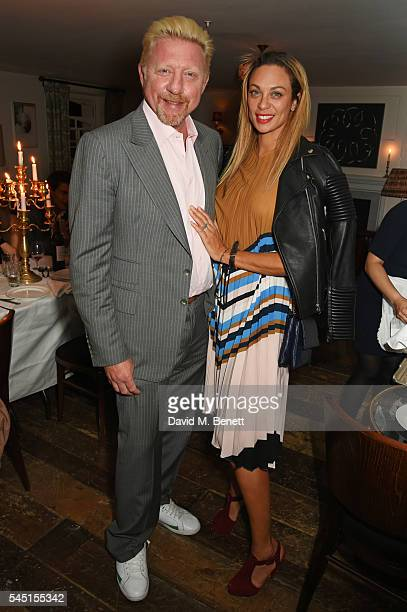 Boris Becker and Lilly Becker attend a private dinner hosted by Dylan Jones and JeanDavid Malat to celebrate artist Mike Dargas at Soho House on July...