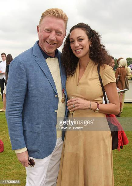 Boris Becker and Lilly Becker attend The Cartier Queen's Cup final at Guards Polo Club on June 14 2015 in Egham England