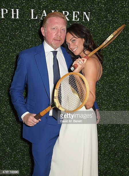 Boris Becker and Lilly Becker attend The Ralph Lauren Vogue Wimbledon Summer Cocktail Party hosted by Alexandra Shulman and Boris Becker at The...