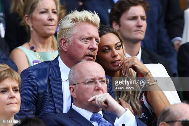 Boris Becker and Lilly Becker look on prior to the Men's Singles Final match between Andy Murray of Great Britain and Milos Raonic of Canada on day...