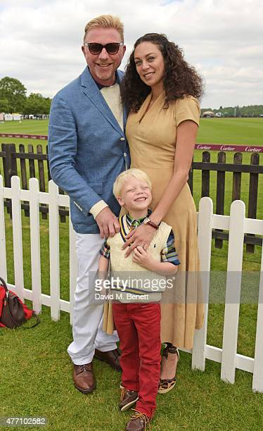 Boris Becker and Lilly Becker pose with son Amadeus attends The Cartier Queen's Cup final at Guards Polo Club on June 14 2015 in Egham England