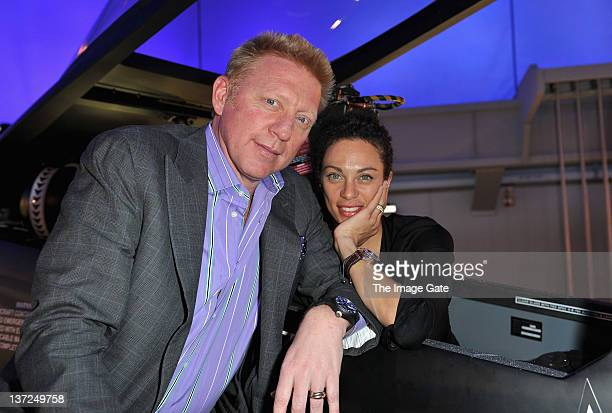 Boris Becker and Lilly Becker visit the IWC Schaffhausen booth during the 22nd SIHH High Jewellery Fair at the Palexpo Exhibition Hall on January 17...
