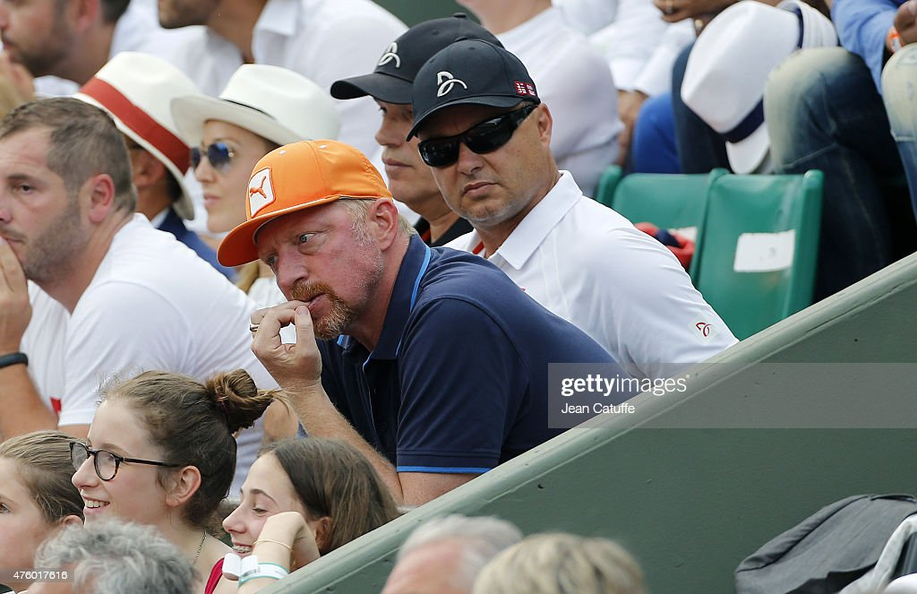 <a gi-track='captionPersonalityLinkClicked' href=/galleries/search?phrase=Boris+Becker&family=editorial&specificpeople=67204 ng-click='$event.stopPropagation()'>Boris Becker</a> and Marian Vajda, coaches of Novak Djokovic attend day 13 of the French Open 2015 at Roland Garros stadium on June 5, 2015 in Paris, France.