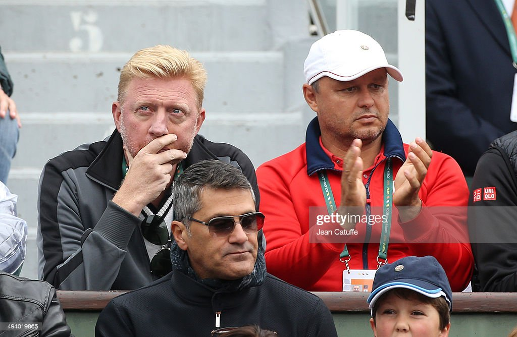 <a gi-track='captionPersonalityLinkClicked' href=/galleries/search?phrase=Boris+Becker&family=editorial&specificpeople=67204 ng-click='$event.stopPropagation()'>Boris Becker</a> and Marian Vajda, coaches of Novak Djokovic attend the Roland Garros French Tennis Open 2014 - Day 2 on May 26, 2014 in Paris, France.