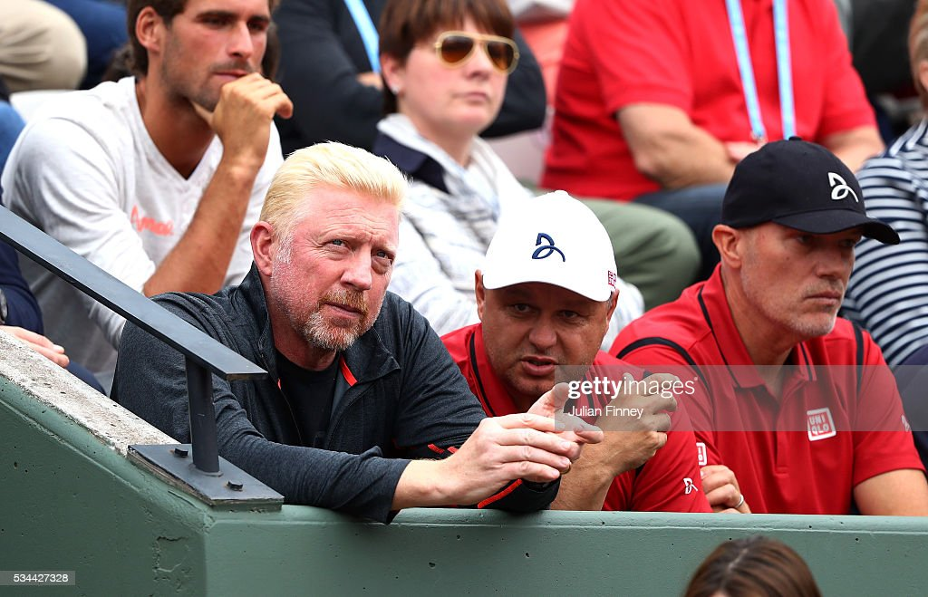 <a gi-track='captionPersonalityLinkClicked' href=/galleries/search?phrase=Boris+Becker&family=editorial&specificpeople=67204 ng-click='$event.stopPropagation()'>Boris Becker</a> and Marian Vajda look on during the Men's Singles second round match between Novak Djokovic of Serbia and Steve Darcis of Belgium on day five of the 2016 French Open at Roland Garros on May 26, 2016 in Paris, France.