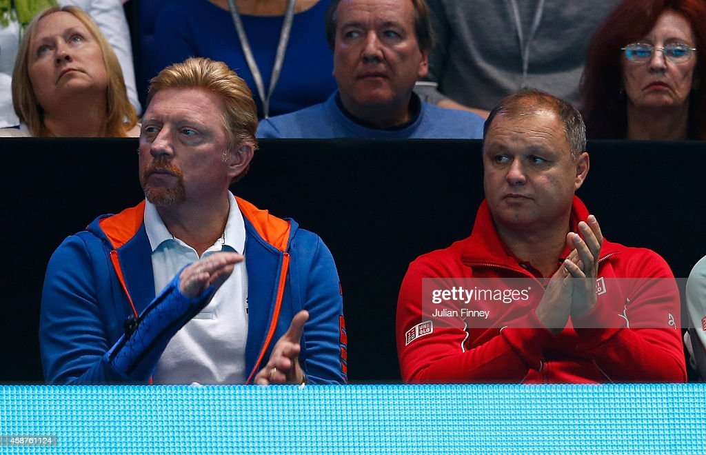 <a gi-track='captionPersonalityLinkClicked' href=/galleries/search?phrase=Boris+Becker&family=editorial&specificpeople=67204 ng-click='$event.stopPropagation()'>Boris Becker</a> and Marian Vajda support Novak Djokovic of Serbia in his match against Marin Cilic of Croatia in the round robin during day two of the Barclays ATP World Tour Finals tennis at the O2 Arena on November 10, 2014 in London, England.
