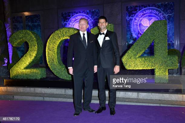 Boris Becker and Novak Djokovic attend the Wimbledon Champions Dinner at the Royal Opera House on July 6 2014 in London England