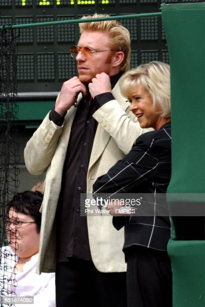 Boris Becker and Sue Barker watch the Henman v Sa game intently