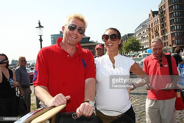 Boris Becker and wife Lilly 'Sharlely' at the prologue of The classic car rally 'Hamburg Berlinl' at the fish market in Hamburg