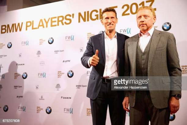 Boris Becker arrives with tournament director Patrick Kuehnen at the Players Night of the 102 BMW Open by FWU at Iphitos tennis club on April 30 2017...